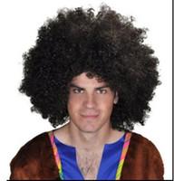 Xiu Zhi Mei 200g Brasilien Fußballfan Perücken Afro Perücken Männer Afro Fans Perücken Bulkness Weihnachten Halloween Karnevalsparty kurze lockige Cosplay Perücke