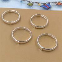 BoYuTe nuevo producto 100 piezas base de anillo de plata con almohadilla de 4 mm resultados de la joyería Diy hecho a mano material anillo ajustable configuración en blanco