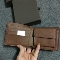 Export New style mens marke leder leder geldbörse brieftasche kurze kreuz hochwertige brieftaschen für männer box