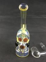 Mini Fumée Pipe Verre D'eau Bong Gaz Masque En Verre Huile Rig Brûleur Verre Bécher Coloré Bongs Recycler Bubbler 10mm Quartz Banger
