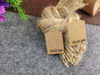 Venta al por mayor-Libre 3x2cm Color Etiquetas de precio Etiquetas de regalo hechas a mano Gracias DIY Tarjetas de papel Kraft Garment Tags 200PCS Etiquetas + 200PCS Cuerdas