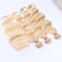 Blonde Weaves With Closure Pure # 613 Couleur Péruvienne Vague de Corps de Cheveux Humains 3 Bundles Extensions Avec 1 Pc Blonde 4x4 Dentelle Fermeture 4 Pcs Lot