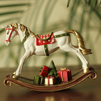 European White Resin Rocking Horse with Gift Box for Childre...