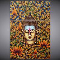 3 panneaux Toile Art Bouddha en Fleurs Heureuse vie Home Decor Mur Art Art Peinture Toile Esprime Images pour Salon Poster Décoracion