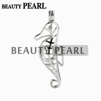 5 Pieces Gift Sea Horse Pearl Cage Pendant Mounting Wish Lov...