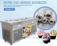 Livraison gratuite Kolice vers la porte US WH Cuisine Outil Fried Glace Cream Machine 2 casseroles avec 10 Congélateur de refroidissement