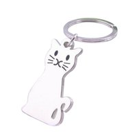 New Fashion Silver Plated Creative Model Cat Keychain Popula...