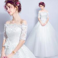 cedf38928892 Una linea principessa elegante abito da sposa con pizzo fiore caviglia  mezza lunghezza off spalla ball