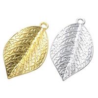 100 pcs plaqué or pendentif breloque feuille argent ton bon pour votre artisanat de bricolage, fabrication de bijoux