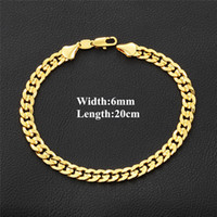Luxury 18K Real Yellow Gold Plated 6mm 20cm Bracelet Chain f...