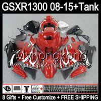光沢の赤8ギフトのための鈴木早見GSXR1300 08 15 GSXR-1300 14My57 GSXR 1300 GSX R1300 08 09 10 11 12 13 14 15トップレッドブラックフェアリングキット