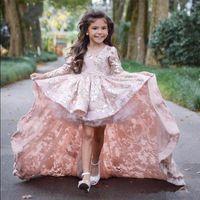 Encaje Little Real Photo vestidos de niña de las flores con mangas largas Frente corto vestido de fiesta largo de espalda Niños vestidos de desfile de belleza para niñas