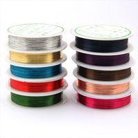 10pcs colore misto Rolls filo di rame perline Discussione Cavo della stringa fai da te gioielli Making - (0.3mm 20M / roll) (0,4 millimetri 10M / roll)