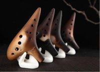 High Quality 12 Holes Straw Smoked Ocarina Instrument Alto C...