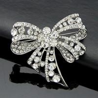 Broche cristal de luxe bowknot broches creux noeud papillon en strass broche broche bijoux de mariée hommes femmes mariage costume corsage