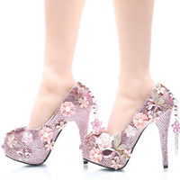 Luxurious Pink Rhinestone Wedding Shoes Bridal High Heels Pl...
