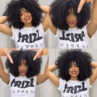 Brazilian Afro Curls mongolischen Menschenhaar Tiny Afro verworren lockige Perücken Menschenhaar-volle Spitze / Front-Perücke für schwarze Frauen auf Lager