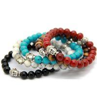 Горячая распродажа 10 шт. / Лот изысканные браслеты Будды с натуральным красным / черным агатом, желтый тигровый глаз, белый и турецкий камень