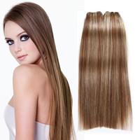 """P6 / 613 # Extensiones de cabello de la Virgen humana peruana brasileña de la India 3Pcs / lot 100g / pcs Pelo rectas paquetes 8 """"-30"""" Pelo de la India rubia"""