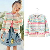 Everweekend Girls Candy Color Plaid Knitted Sweater Cardigan...