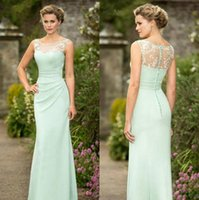 Mint Green Mermaid Country Bridesmaid Dresses Long Sheer Bateau Neck Chiffon Maid Of Honor Платье Appliques Длина пола Свадебная гостевая одежда