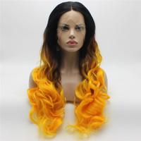 Iwona Saç Koyu Kök Altın Ombre Dalgalı Uzun Peruk 5 # 1B / 1150 Yarım El Bağlı Isıya Dayanıklı Sentetik Dantel Ön Peruk