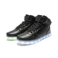 USB LED Zapatillas de luz Hombres 7 colores Brillante Moda LED Zapatos LED Pisos Alto-Top Adultos Lumineuse Amantes Zapatos casuales