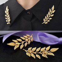 2 colors Wheat Leaves Brooch Shirt Suit Needle Button Pendan...