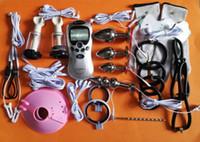 전기 펄스 전기 충격 BDSM 속박 기어 키트 남근 수탉 반지 아날 플러그 성인 게임 섹스 토이 제품 남자 여자를위한 제품