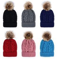 Горячая женская зима теплая рука вязать искусственный мех Pom poms Шапочка Hat высокое качество теплая шерстяная вязаная шапочка Скалли шерсть Hat шапочки DHL бесплатно