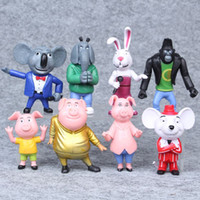 8pcs / set Cartoon Movie Cantare Action Figure Giocattoli Buster Moon Johnny Dolls Action Figure Toys 7-10CM Regali di compleanno di Natale