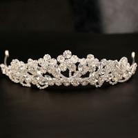 Magnifique Sparkling Silver Grand Mariage Diamante Pageant Diadèmes Hairband Cristal De Mariée Couronnes Pour Les Mariées Cheveux Bijoux Headpiece
