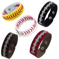 古典的なソフトボール野球野球レザーシームブレスレット