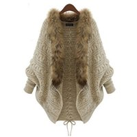 Wholesale- Women Winter Cardigan Thick Poncho Capes Pull Femme Autumn  Fashion Knitted Fur Collar Wool Sweater Jacket Bat Sleeve Coat
