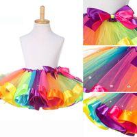 Baby Girl Falda Niños Rainbow Tutu Faldas Venta Caliente Pettiskirt Tutu Custome Fiesta Boda Baile Falda Foto Prop