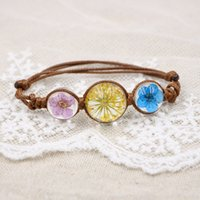 Women' s Fashion Handmade Crystal Dried Flowers Bracelet...