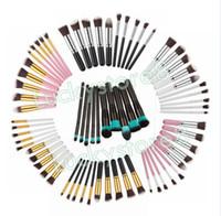 Juego de pinceles de maquillaje profesional de 10 piezas, kit de rubor de pestañas de sombra de cejas cosméticas, kit de rubor de herramientas de maquillaje de cadena de dibujo libre