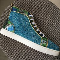 New 2017 mens womens snakeskin leather with blue rhinestones...