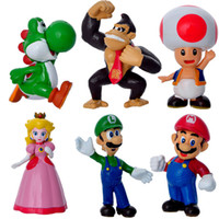 4- 7CM 6pcs Lot High Quality PVC Super Mario Bros Luigi Yoush...