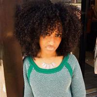 Vente chaude courte Afro perruques bouclés crépus Simulation de cheveux humains crépus pleine perruques bouclés en stock