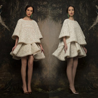 Fashion Two Piece Party Dress Boat Neck 3 4 Sleeve Applique Sexy Short Prom Dress Custom Made Krikor-Jabotian 2017 Collection Evening Gowns
