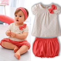 Wholesale- 1- 3Y Lovely Kids Baby Girl Bow Short Sleeve Tops+...