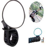 Atacado-Nova Chegada Preto Ajustável 360 Graus de Rotação Espelho Retrovisor Da Bicicleta Da Bicicleta Da Estrada Guiador