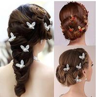 Charme Braut Haarschmuck u Form Strass Gold Silber Überzogene Schmetterling Pins Womens Party Kopfstücke Hochzeit Haarstücke