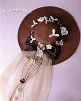 Neue Kaffee Leinen Bow Floral Bridal Hut mit Tüll Garten Hochzeit Haarschmuck Braut Mutter besonderen Anlass Party Dekoration Foto Hut