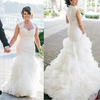 Elegant sjöjungfrun vit ruffled organza bröllopsklänningar kapell tåg bröllopsklänningar lång brud klänning vintage kvinnor brudklänning