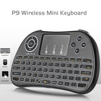 Мини-клавиатура 2,4 ГГц Беспроводная сенсорная панель игровых клавиатурных клавиатур Rainbow подсветку ручка воздушная мышь для Android Smart TV ноутбук планшетный проектор