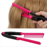 Fashion V Type Hair Straightener Comb DIY Salon Hairdressing...