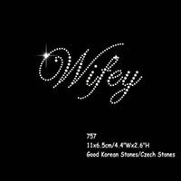 30pcs / lot Wedding Wifey Rhinestone Transfer Eisen auf Hotfix Kristall Patch Motiv