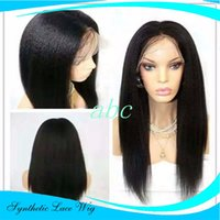 Synthetic Wigs yaki Straight with Natural Partting Black Nat...